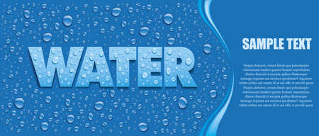 many fresh water drops on blue background