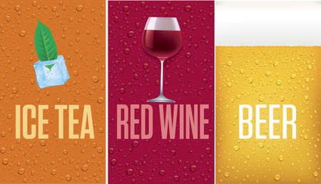 banners with ice tea, red wine, beer, background with many fresh drops