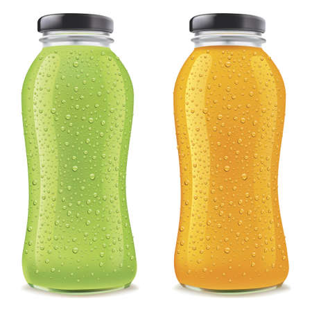 Juice Bottles with many fresh ice drops isolated on white. Transparent jar and packages for  liquid food and drinks stock