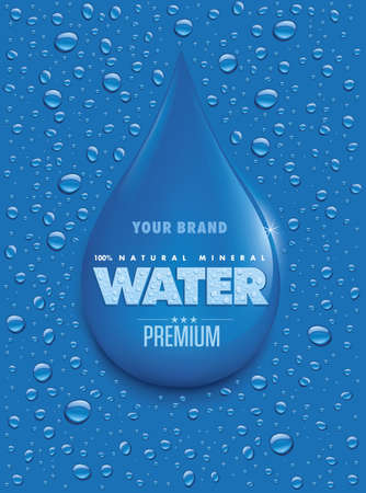 big fresh drop on blue background with many fresh water drops and place for text