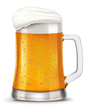 Glass of beer with many fresh drops on surface Illustration