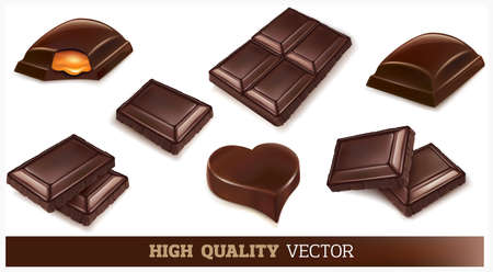 Different shapes of chocolate bars