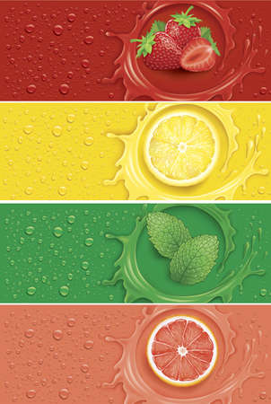 Many fresh drops on different colour with splash and lemon, strawberry, mojito, grapefruit