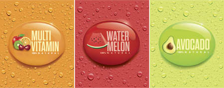 many fresh drops on different colour backgrounds with with forest fruit, multivitamins, water melon