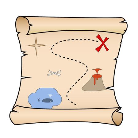 Pirate treasure map illustration flat