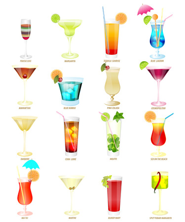 sixteen popular cocktails on a white background. Ilustração