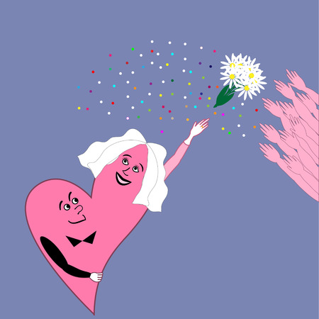 the throwing of the bouquet,an unforgettable moment of the wedding Vector
