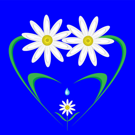 happy,caring family of daisies in the shape of a heart. Vector
