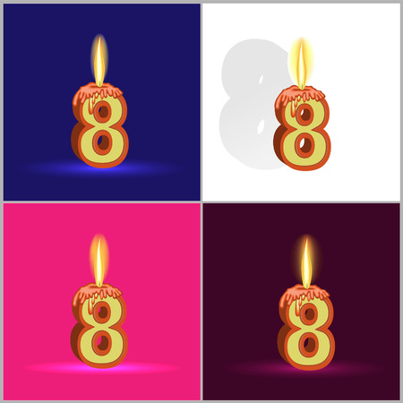 a burning candle in the form of numbers on a significant event depicted on four different backgrounds Vector