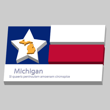 motto: the outline of the state of Michigan and its motto is depicted on the background of a small part of the flag of the United States of America