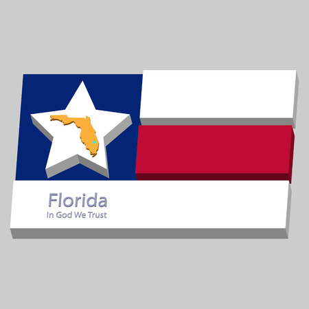 the outline of the state of Florida and its motto is depicted on the background of a small part of the flag of the United States of America Vector