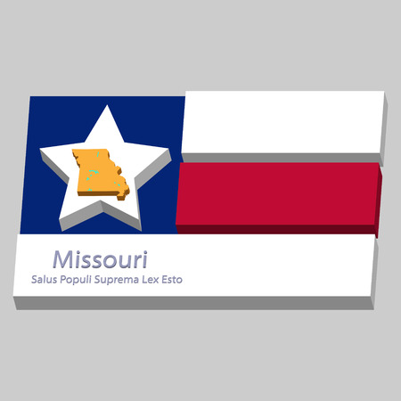 motto: the outline of the state of Missouri and its motto is depicted on the background of a small part of the flag of the United States of America