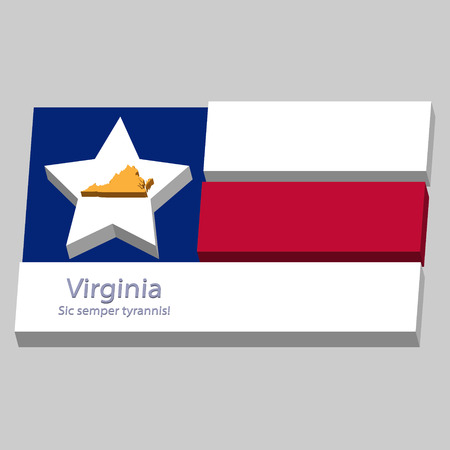 motto: the outline of the state of Virginia and its motto is depicted on the background