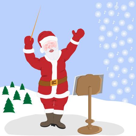 conducting: Santa Claus creates his music in nature in winter. Illustration