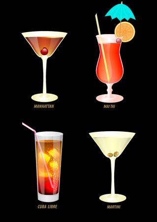 fond sombre: illustration de quatre cocktails populaires sur un fond sombre.