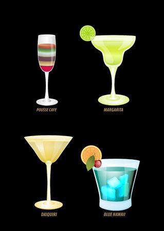 pina colada: illustration of four popular cocktails on a dark background.