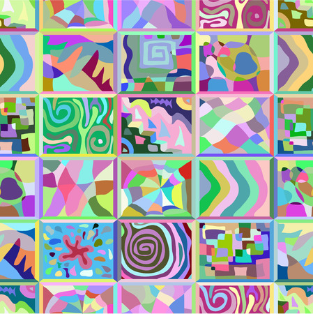 Abstract seamless pattern consisting of many unusual stories.  イラスト・ベクター素材