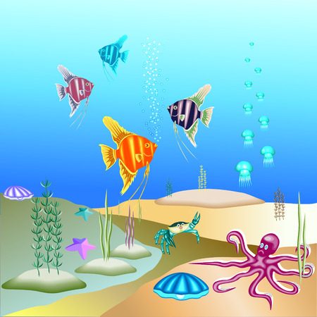 Vector illustration of the underwater world and its inhabitants. Vector