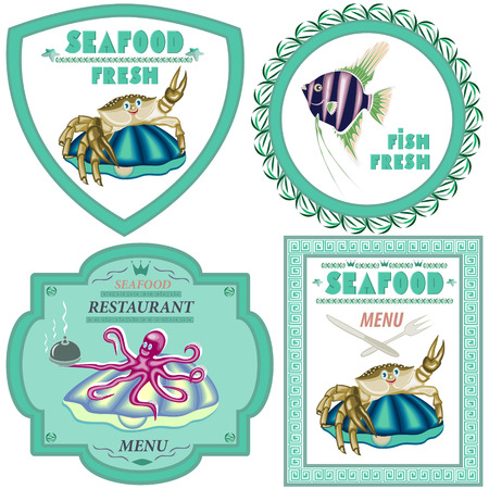 Seafood,a set of four illustrations. Vector