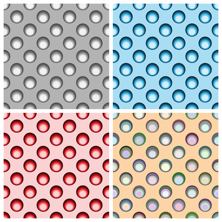 performed: Set of four seamless patterns type polka performed in different colors.