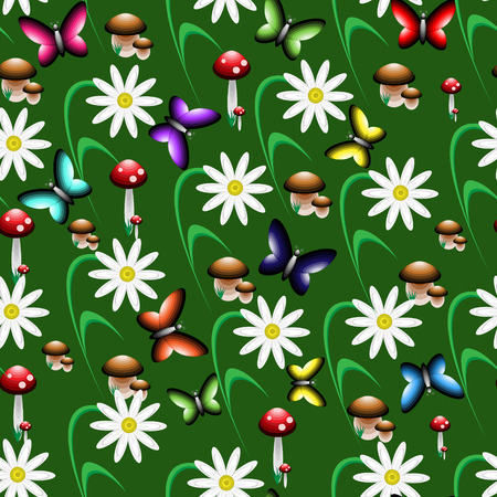 fungi: colorful seamless pattern consisting of fungi of flowers and butterflies.