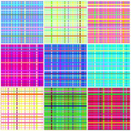 fabrica: Seamless pattern reminded Scottish fabric.A set of nine illustrations