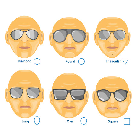 Sunglasses for different face.Set of six forms. Vector