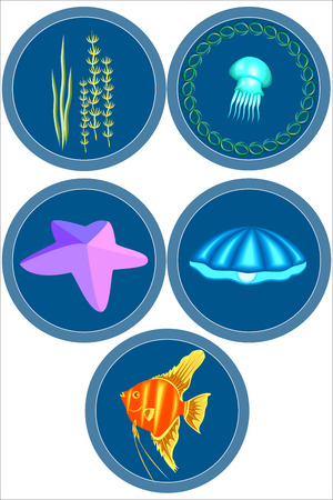 The inhabitants of the sea.A set of illustrations.