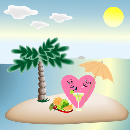 Love hearts on vacation sitting under a palm tree on the beach,and quench your thirst with a delicious cocktail.  イラスト・ベクター素材