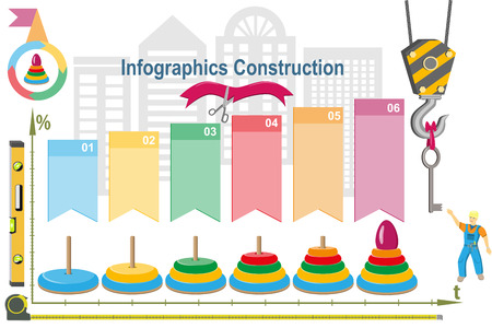 Conceptual construction project.Building infographics. Vector