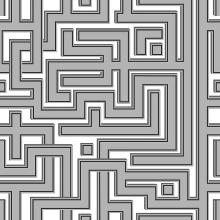 conundrum: Abstract seamless pattern resembling a maze.Illustration done in shades of gray.