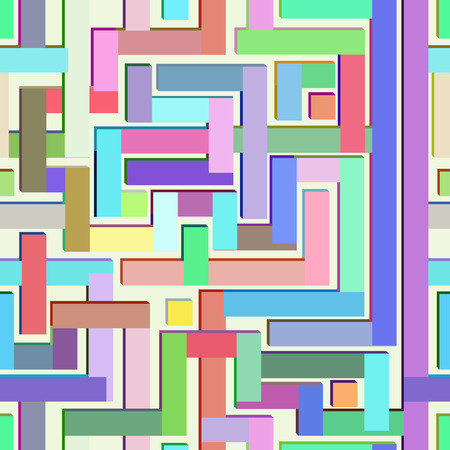 Abstract colorful seamless pattern resembling a maze.