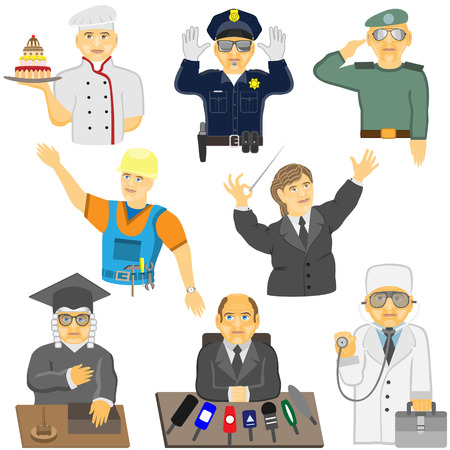 A group of people of different professions in different situations. Vector