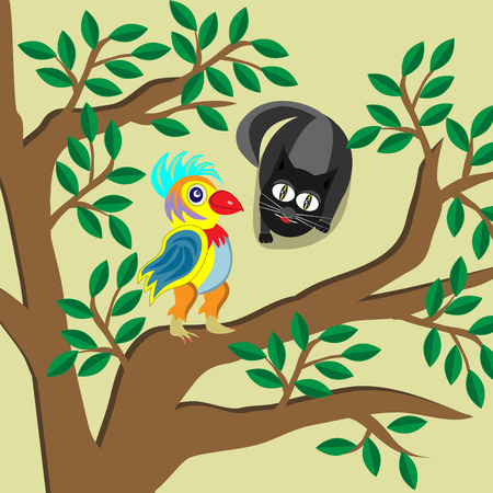 curiosity: Cat watching with curiosity the parrot sitting on the tree. Illustration