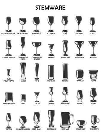 glassware: Stemware set,vector illustration on a white background.A collection of glassware designed for different drinks.