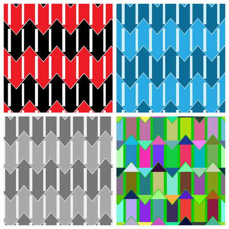 Set of four abstract seamless patterns consisting of colored arrows. Ilustração