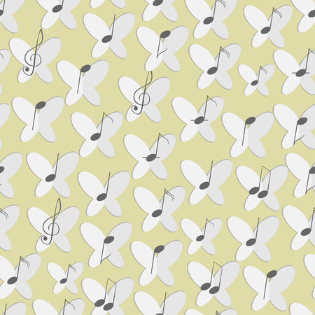 Seamless pattern composed of butterflies and musical notes. Ilustração