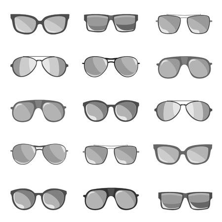 anteojos de sol: El conjunto de las gafas de sol se representa sobre un fondo blanco.