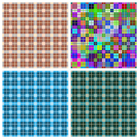Seamless pattern reminded Scottish fabric.A set of four illustrations.  イラスト・ベクター素材