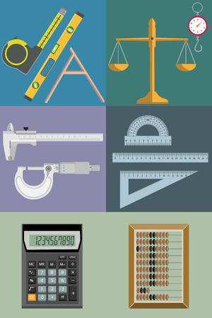 Set of vector illustrations of tools for different kind of calculations and measurements. Ilustração