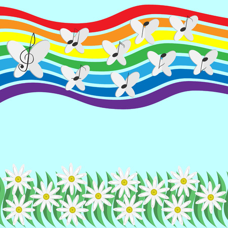 Musical notes and butterflies circling in the sky on a rainbow background creating the melody of the summer.