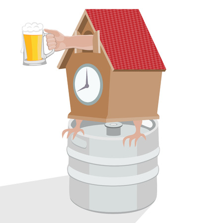 Its time to drink beer.Humorous vector illustration.