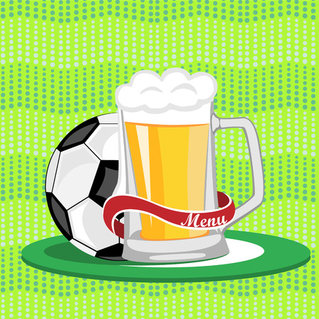 Sports bar menu,poster.Mug of beer and a soccer ball on a green background.