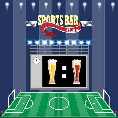 Sports bar menu,poster.Football field,scoreboard and text on a dark striped background.