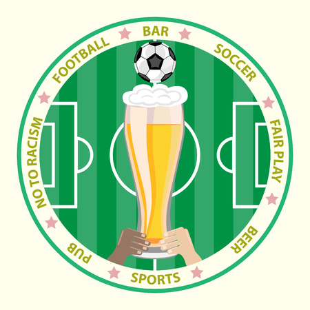 Conceptual illustration.The hands of people of different races together, holding a glass of beer on the background of a football field and a soccer ball.