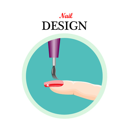 Icon nail design,beauty salon,manicure.illustration on a white background.