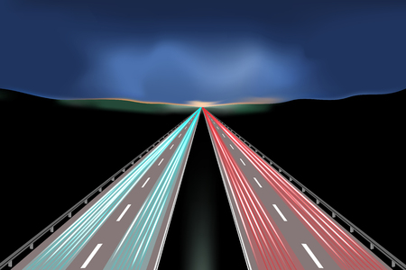 The movement of cars at night highway. illustration of a road on the background of sunset. Illustration