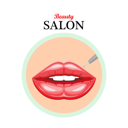 beauty surgery: icon female lips.Permanent makeup lips.Illustration for beauty salons,Spa salons,cosmetic stores,cosmetic surgery,web design. Illustration