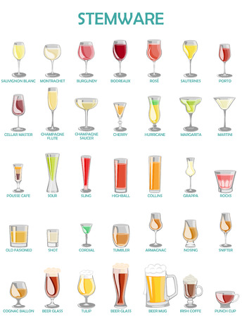Stemware set,illustration on a white background.A collection of glassware designed for different drinks.