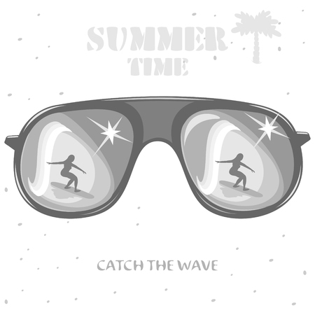 Girl surf-the reflection in the sunglasses.illustration on the theme of summer vacation. Ilustração